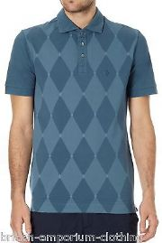 BALLANTYNE 100% Cotton Diamond Teal Short Sleeved Piquet Polo T-Shirt LARGE BNWT